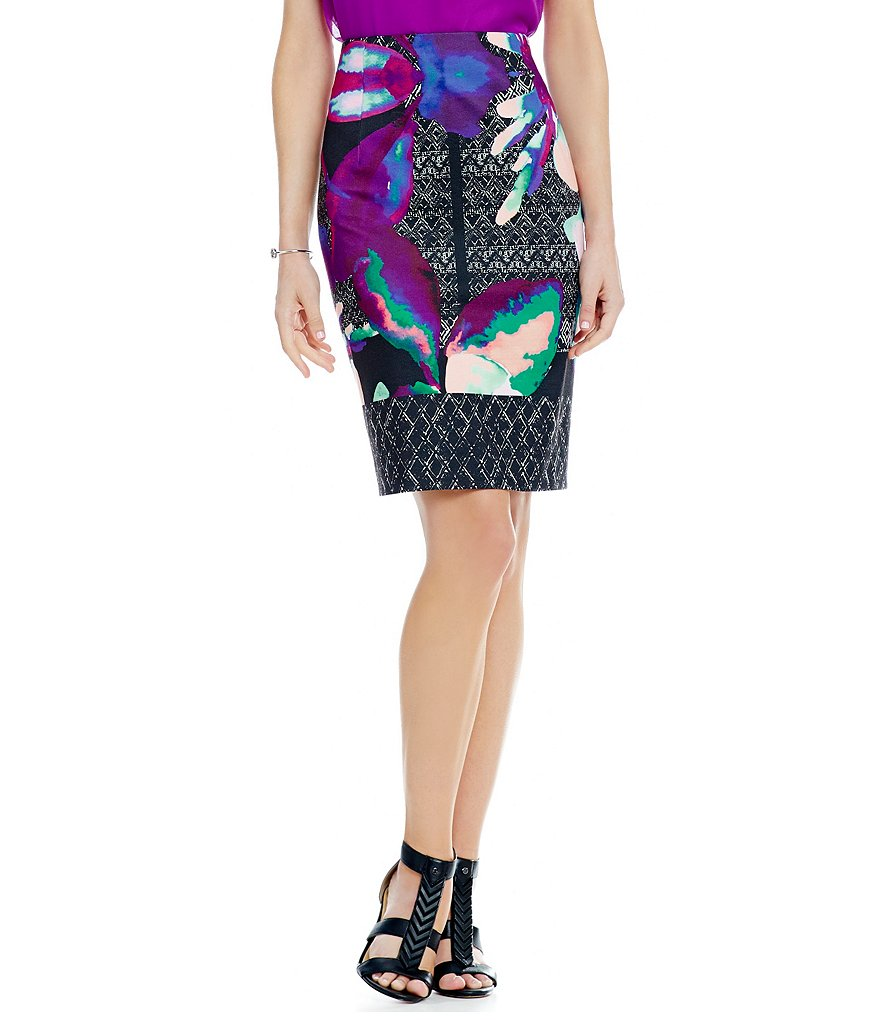 Antonio Melani Polia Printed Ponte Pencil Skirt