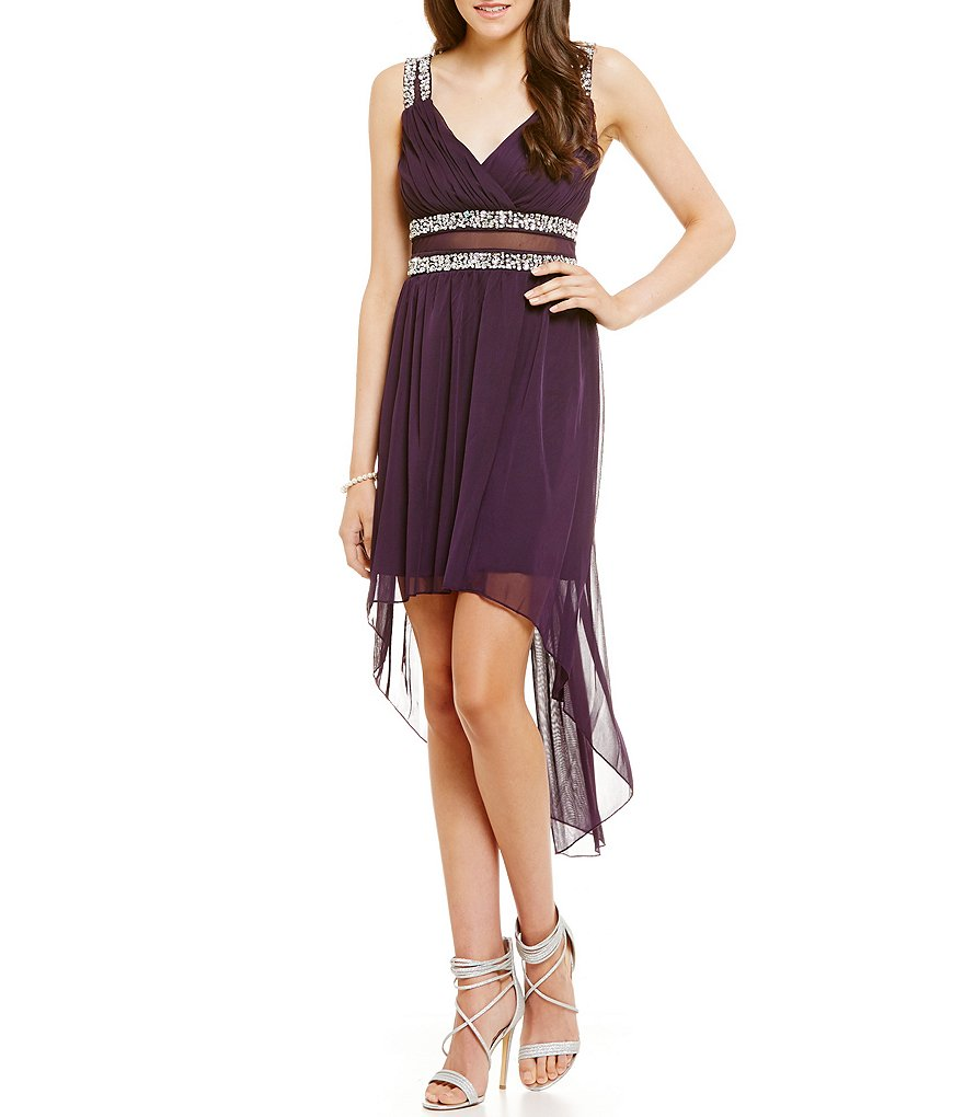 Jodi Kristopher Sleeveless Beaded High-Low Sheath Dress