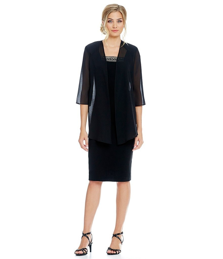 Le Bos Beaded-Neck Chiffon 2-Piece Jacket Dress