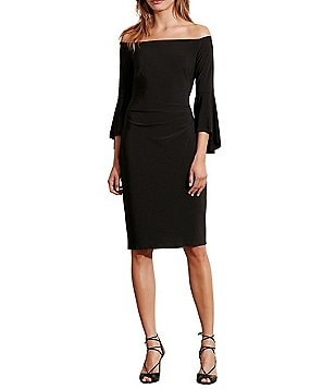 Lauren Ralph Lauren Off-the-Shoulder Bell Sleeve Sheath Dress