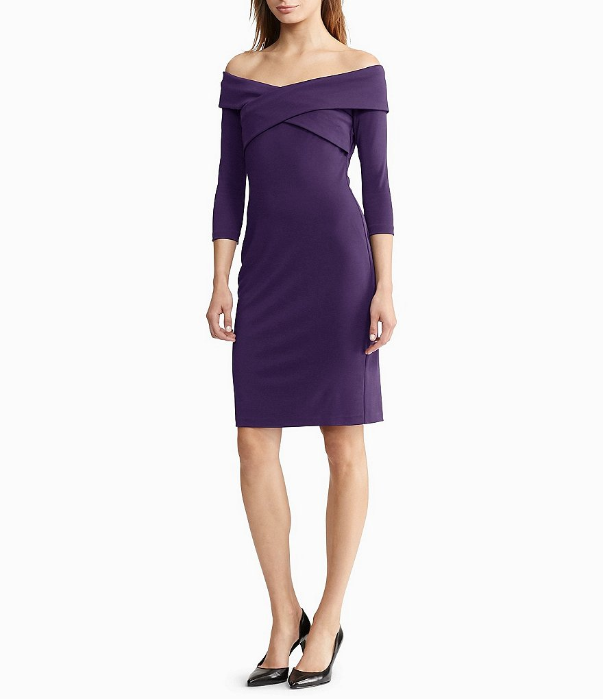Lauren Ralph Lauren Off-the-Shoulder V-Neck Jersey Dress