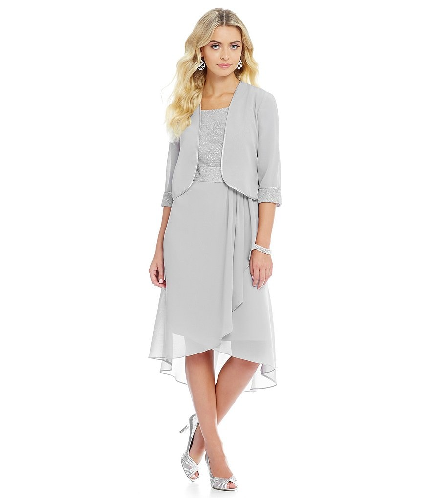 Le Bos Glitter-Trim Cascade Jacket Dress