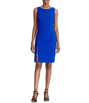Lauren Ralph Lauren Front Zipper Slit Sleeveless Paneled Sheath Dress