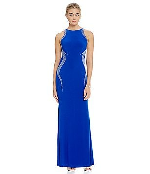 Cachet Petite Cavier-Beaded Jersey Gown
