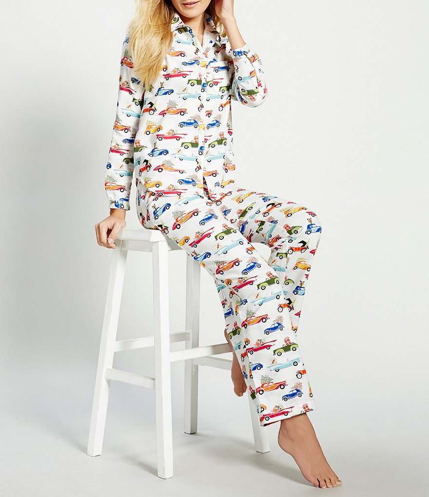 Sleep Sense Holiday Car-Print Flannel Pajamas