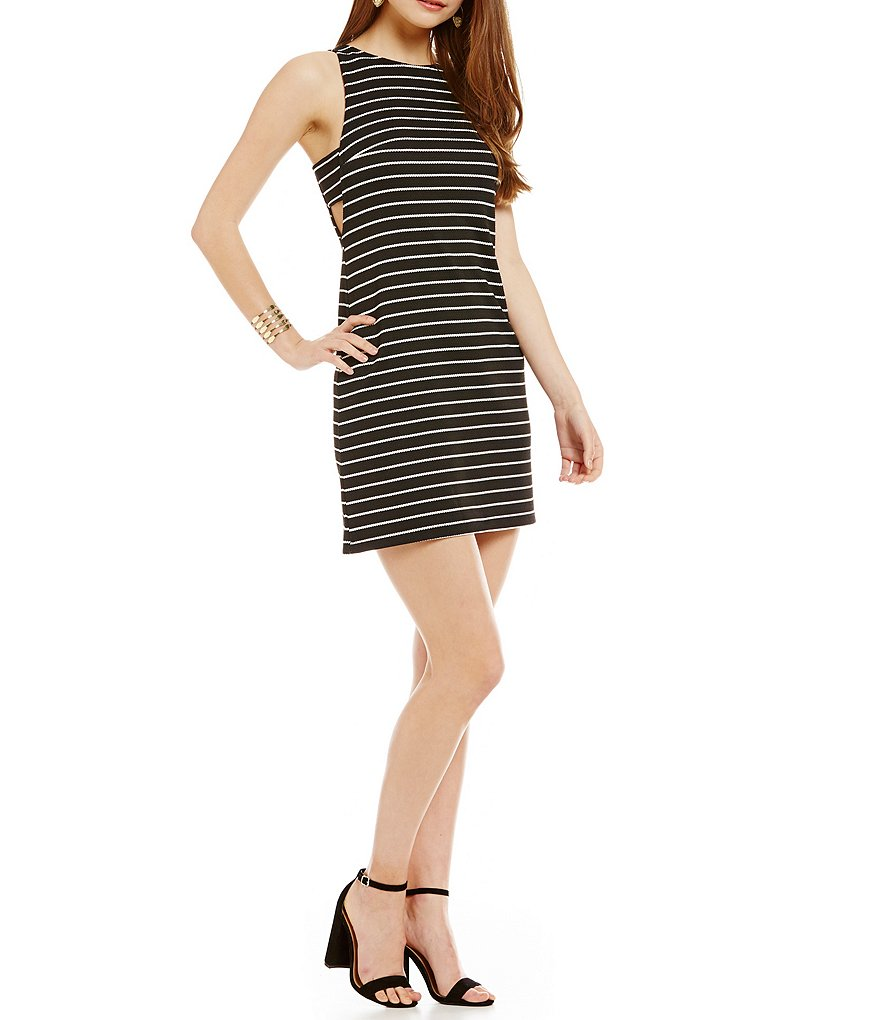 Soprano Striped Side-Cutout Textured-Knit Shift Dress
