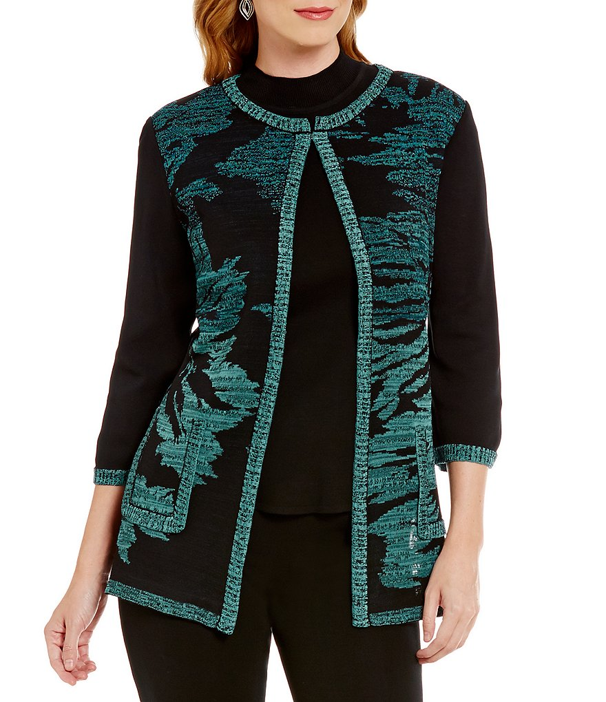 Ming Wang 3/4 Sleeve Jeweled Neck Floral Jacket