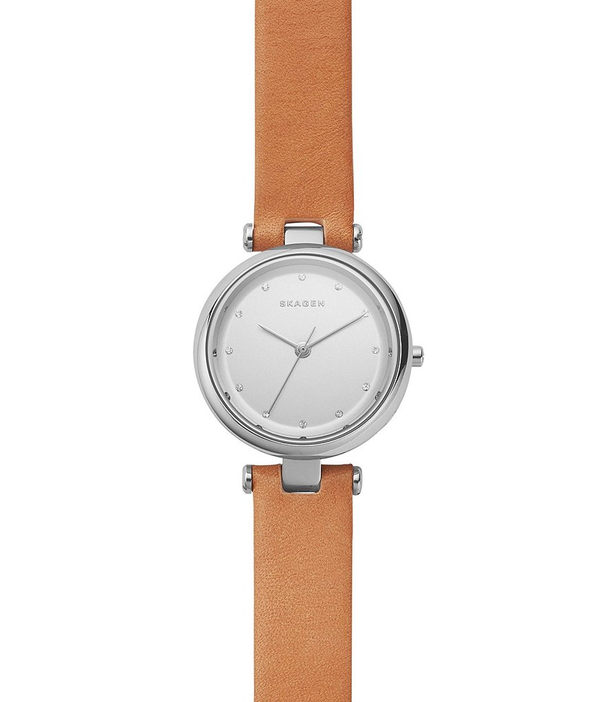 Skagen Tanja Leather Strap Stainless Steel Analog Watch