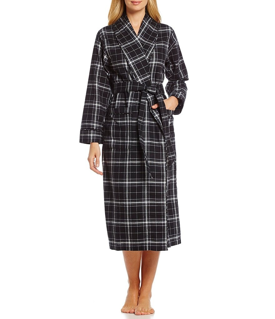 Sleep Sense Plaid Flannel Wrap Robe