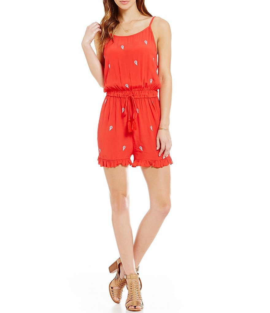 C&V Chelsea & Violet Embroidered V-Back Romper