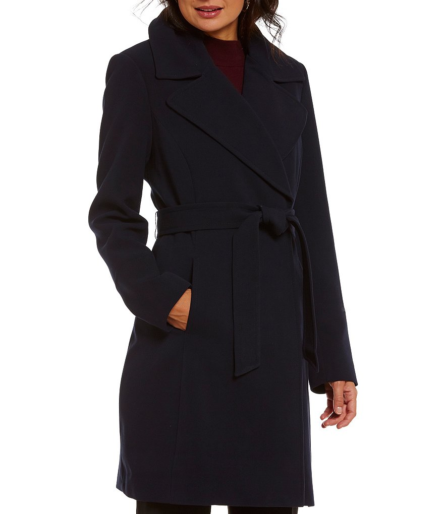 Preston and York Crepe Snap-Front Belted Coat