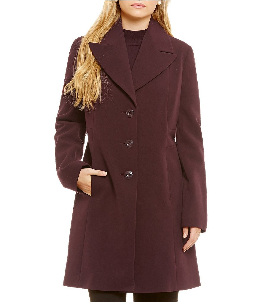 Preston and York Button Front Notch Collar Coat