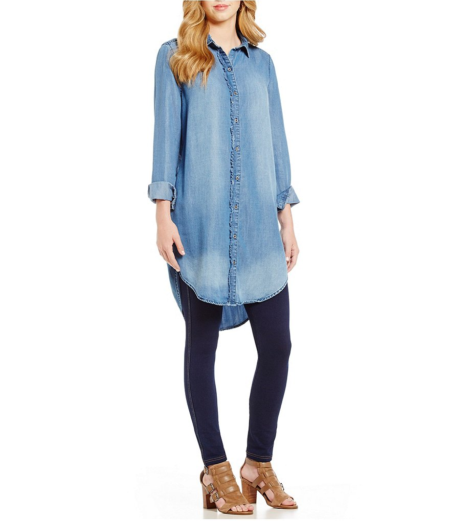 Westbound Petites Long Sleeve Denim Tunic Top