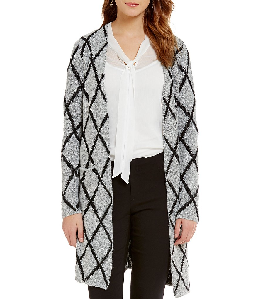 I.N. Studio Diamond Print Open Front Coatigan Duster