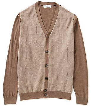 Turnbury Merino Wool Blend Color Block Windowpane Cardigan