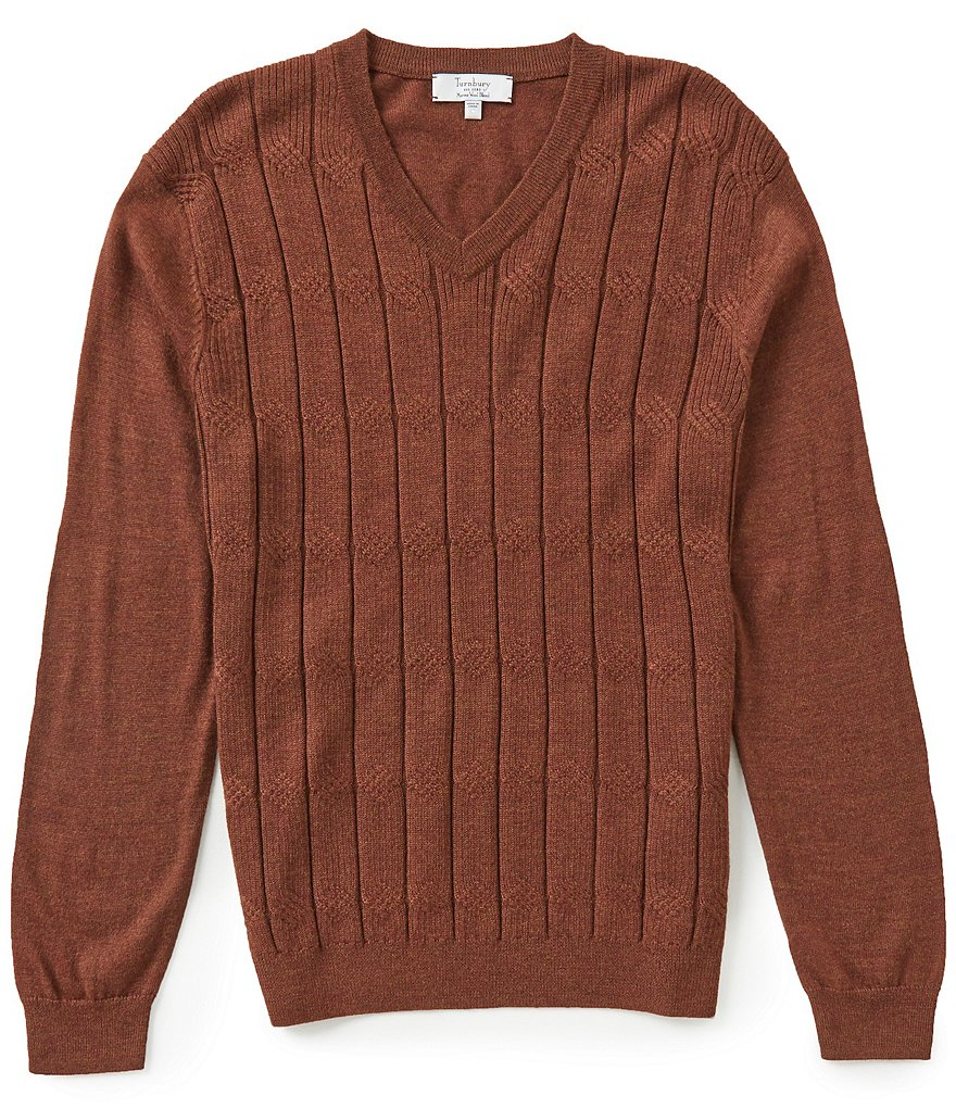 Turnbury V-neck Merino Blend Cable Pullover Sweater