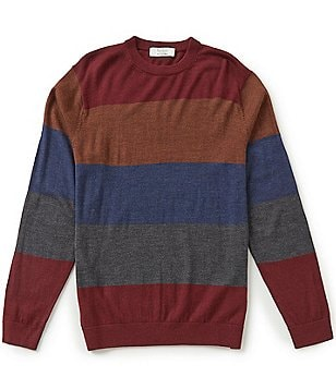 Turnbury Multi Horizontal Stripe Merino Wool Blend Crew Pullover Sweater