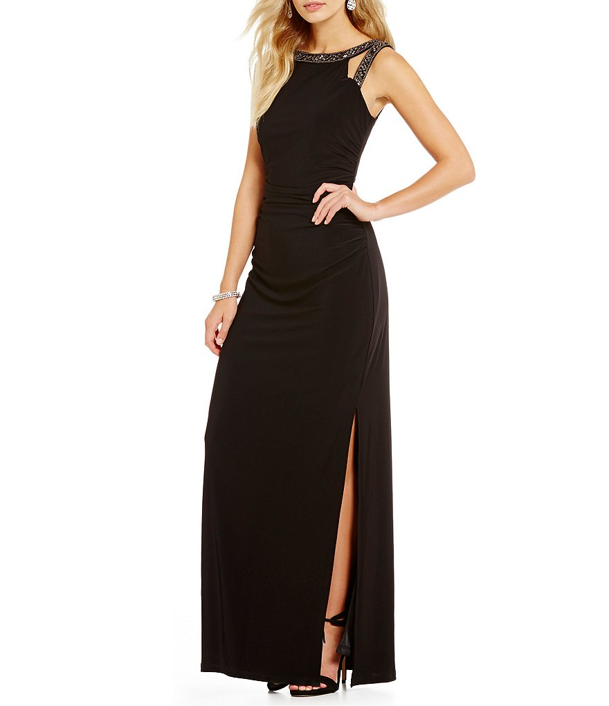 Laundry by Shelli Segal Embellished Sleeveless Shirred Gown