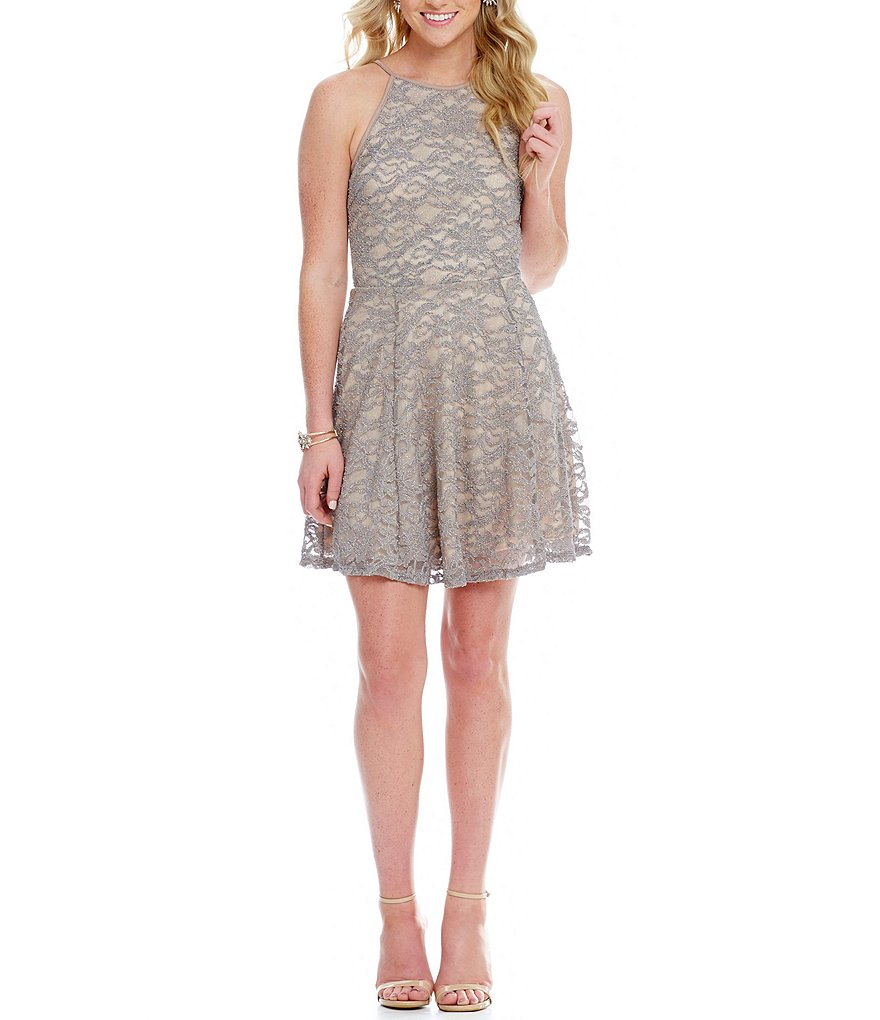 Honey and Rosie Glitter Lace High Neckline Fit-and-Flare Dress