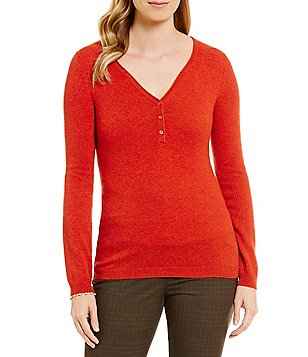 Alex Marie Valerie Split V-neck Cashmere Sweater