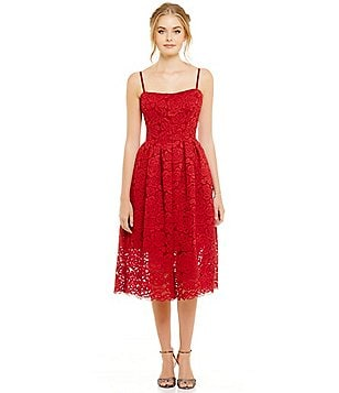 Vera Wang Jacquard Lace Sweetheart Midi Dress