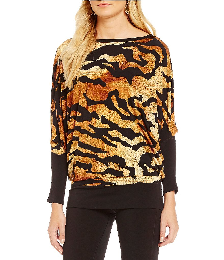 Eva Varro Animal Print Long Sleeve Poncho