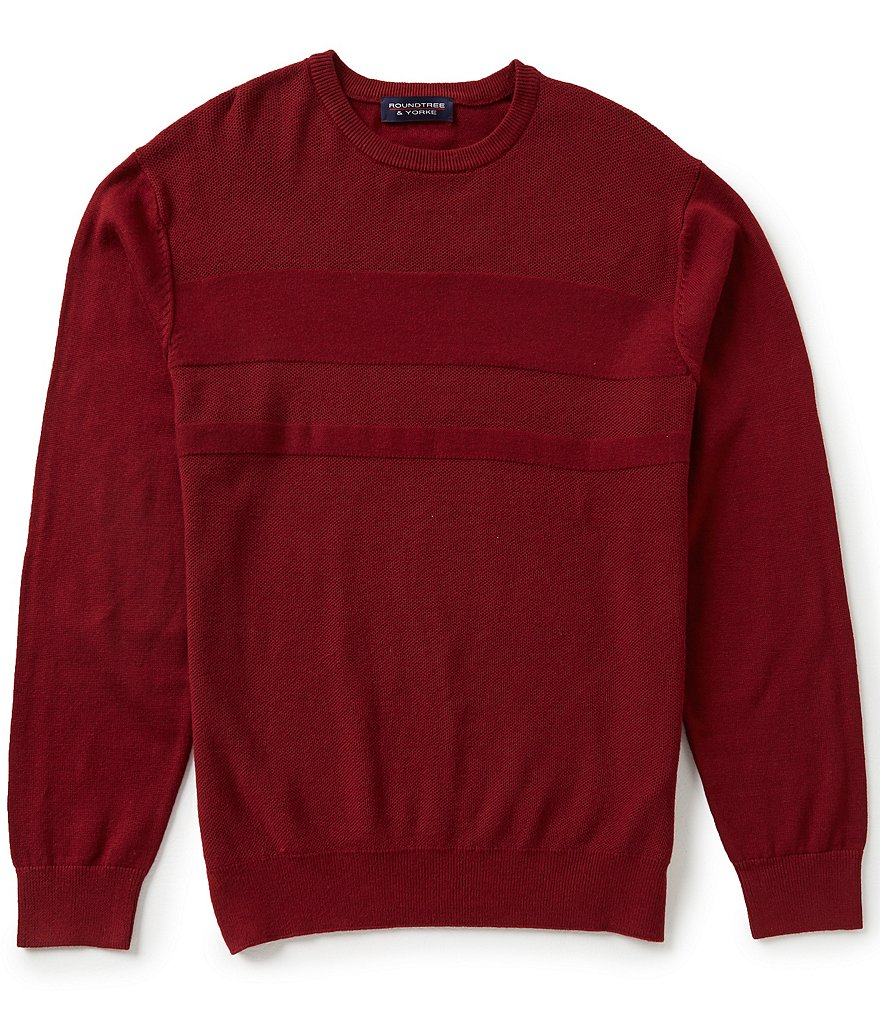 Roundtree & Yorke Textured Crewneck Pullover Sweater