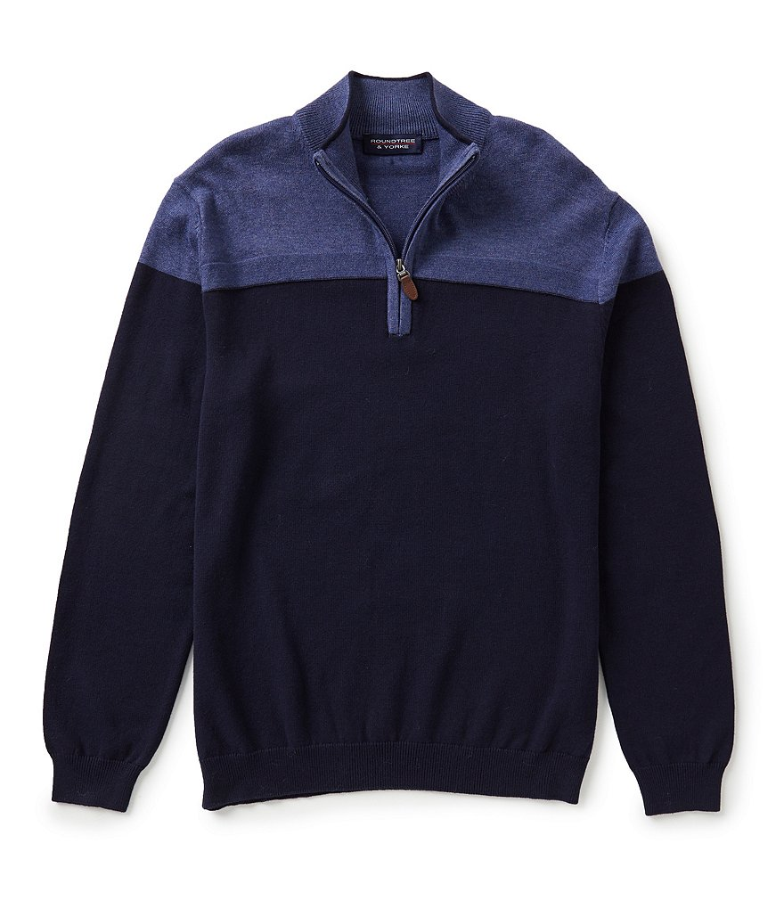 Roundtree & Yorke Color Block Quarter-Zip Mockneck Sweater