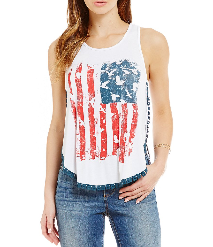 C&V Chelsea & Violet Americana Graphic Shirttail Tank Top
