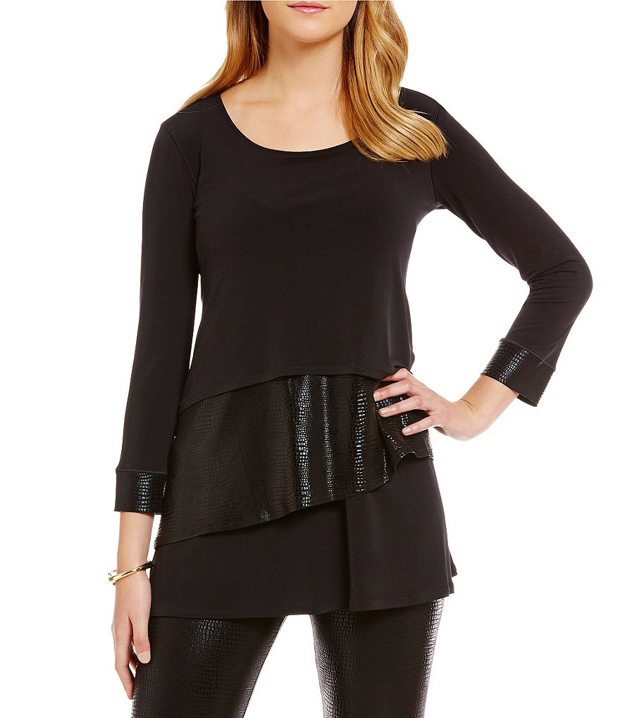 Eva Varro Tiered Round Neck 3/4 Sleeve Faux Snake Tunic