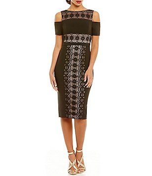 Maggy London Off the Shoulder Crepe Lace Midi Dress