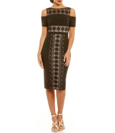 Maggy london dress long-sleeve illusion lace belted