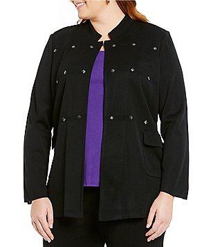 Ming Wang Plus Notch Collar Gunmetal Embellished Jacket