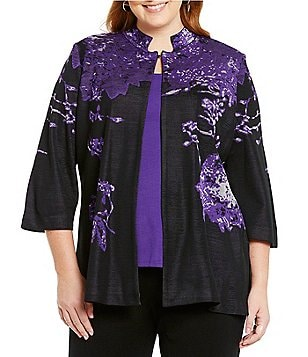 Ming Wang Plus Notch Collar Floral Print Jacket
