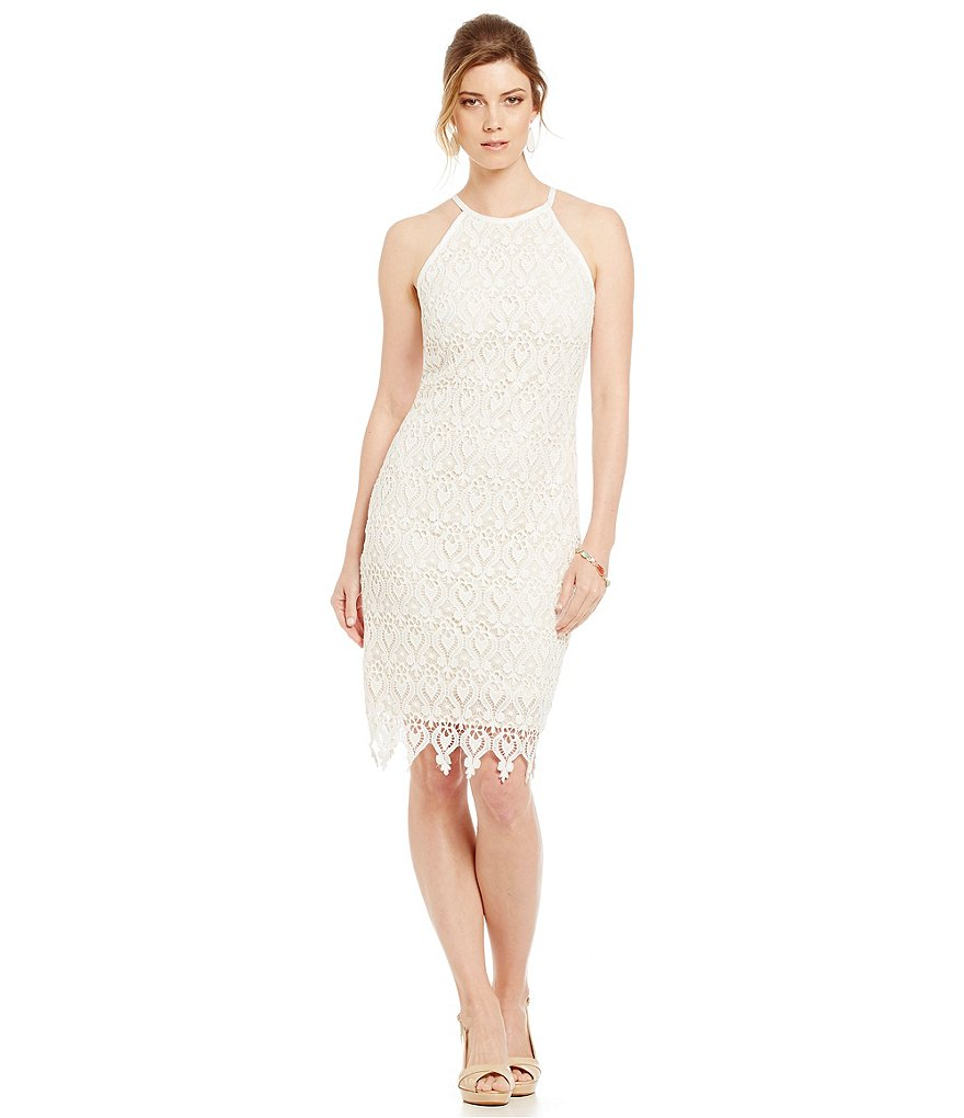 Marina Sleeveless Daisy-Lace Sheath Dress