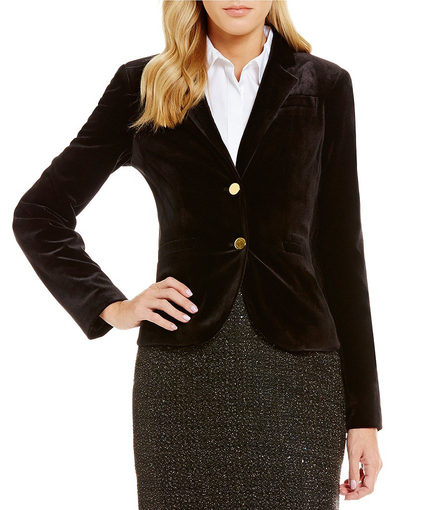 Calvin Klein Petites Notch Collar Velvet Suiting Two-Button Jacket
