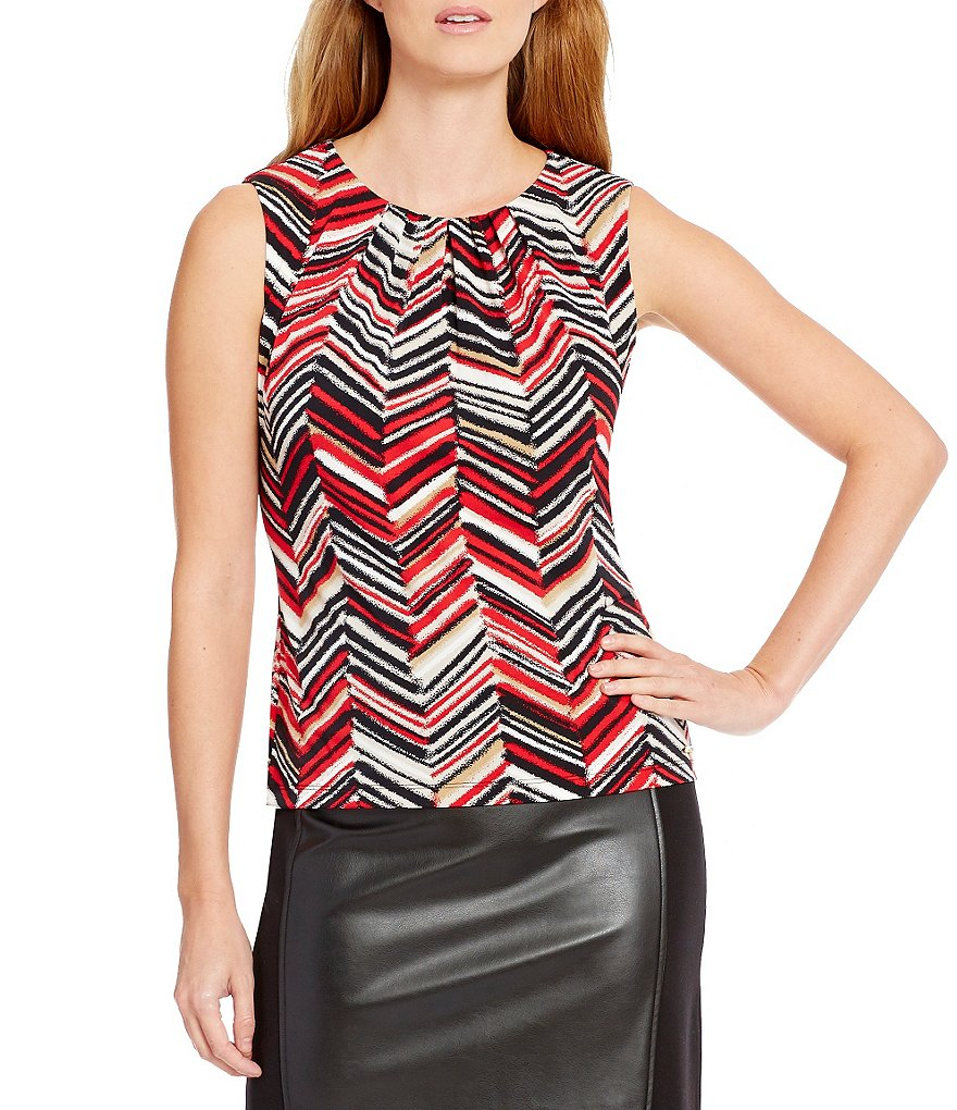 Calvin Klein Petites Pleat Neck Chevron Stripe Matte Jersey Shell