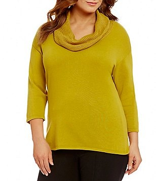 Multiples Plus Cowl Neck Solid Tape Yarn Sweater