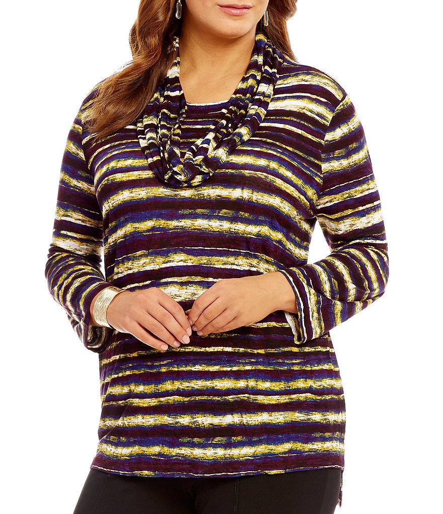 Multiples Plus 3/4 Sleeve Stripe Tunic with Accent Scarf