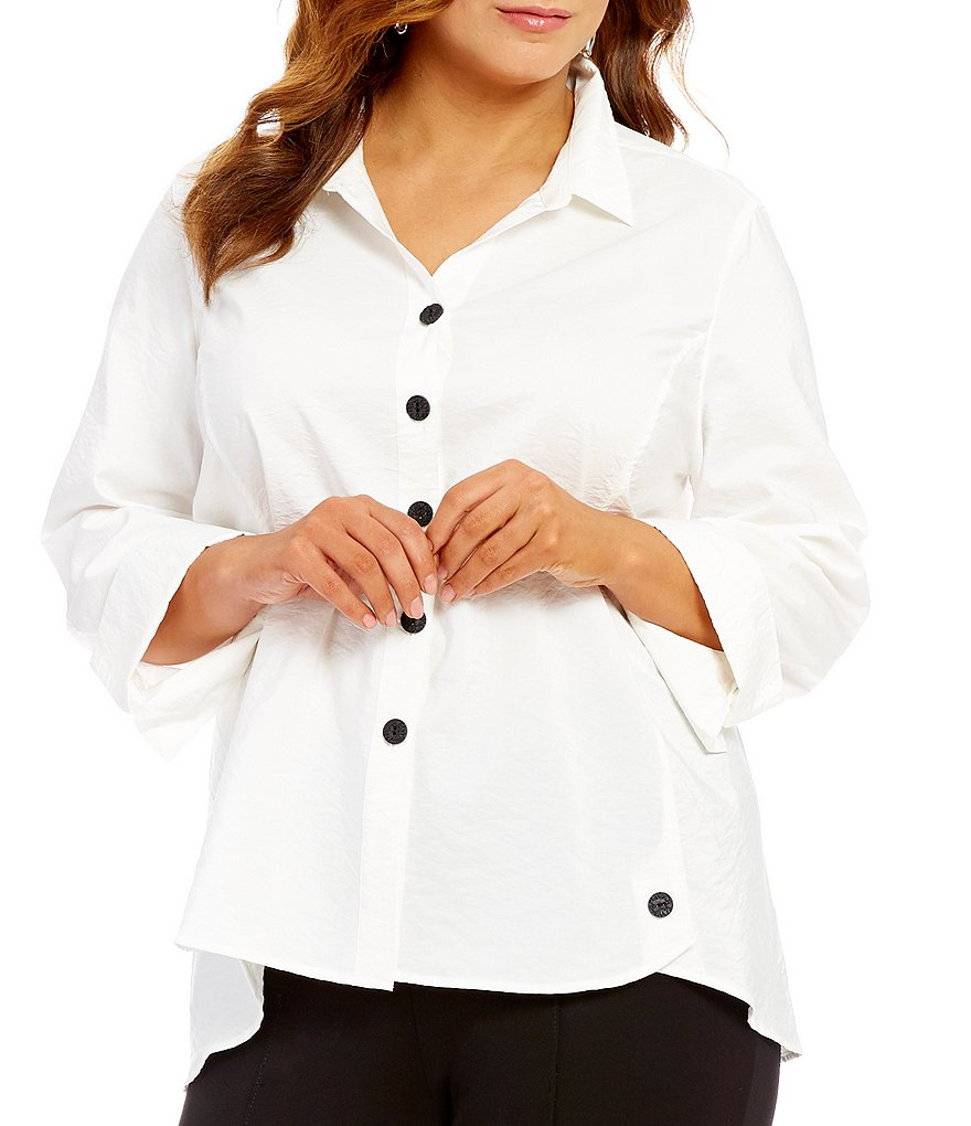 Multiples Plus Button Front Long Sleeve Shirt