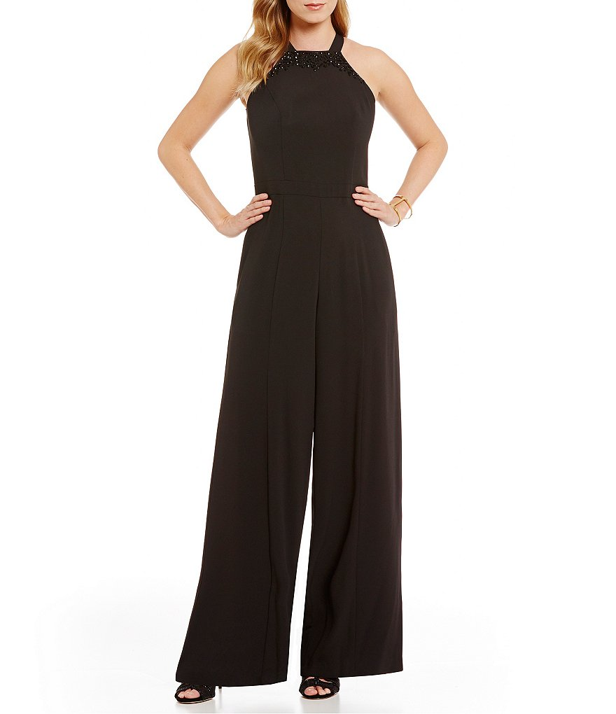 Vince Camuto Beaded Halter Neck Crepe Jumpsuit
