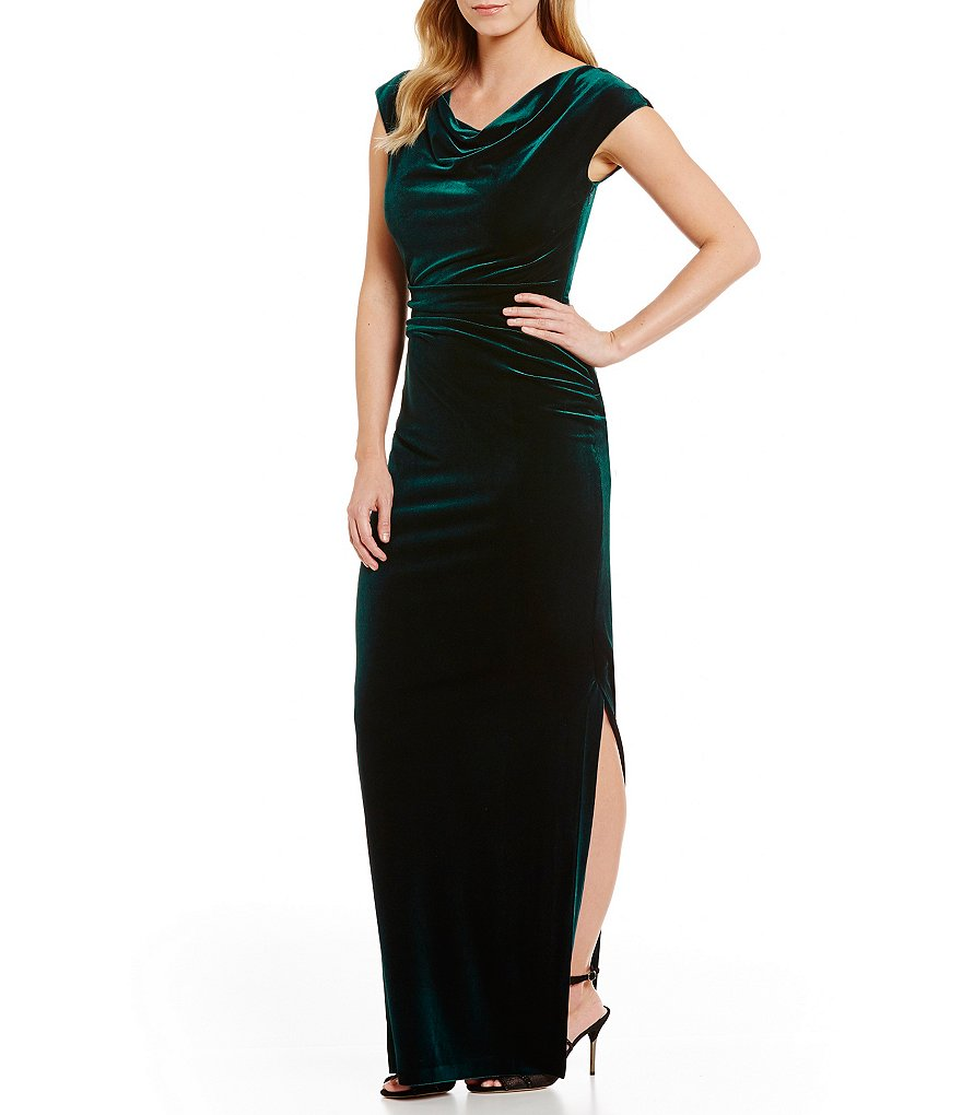 Vince Camuto Cowl Neck Cap Sleeve Velvet Gown