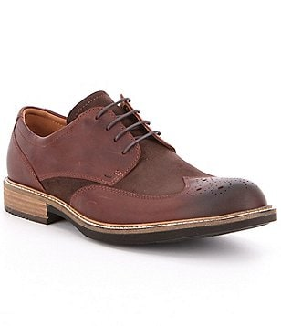 ECCO Men´s Kenton Brogue Vintage Leather Lace-Up Wing Tip Oxfords