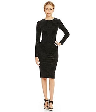 Maggy London Medallion Burnout Long Sleeve Midi Dress
