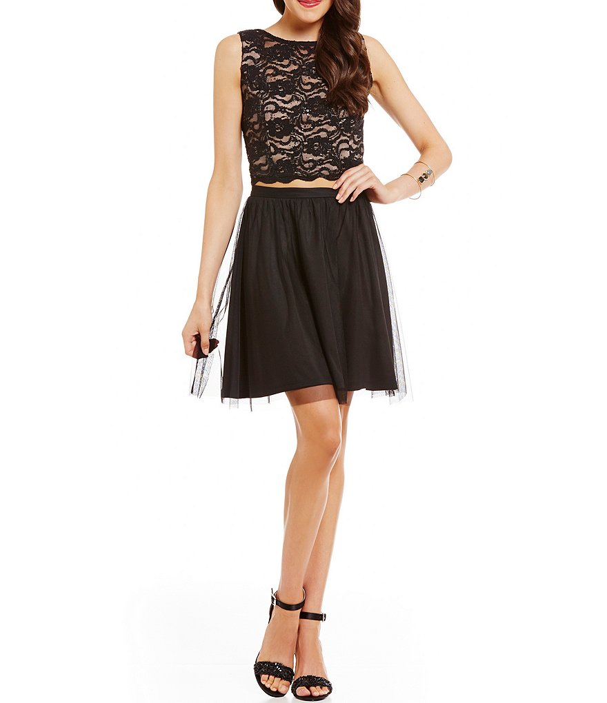 Jump Lace Bodice Bead Draped Back Two-Piece Dress