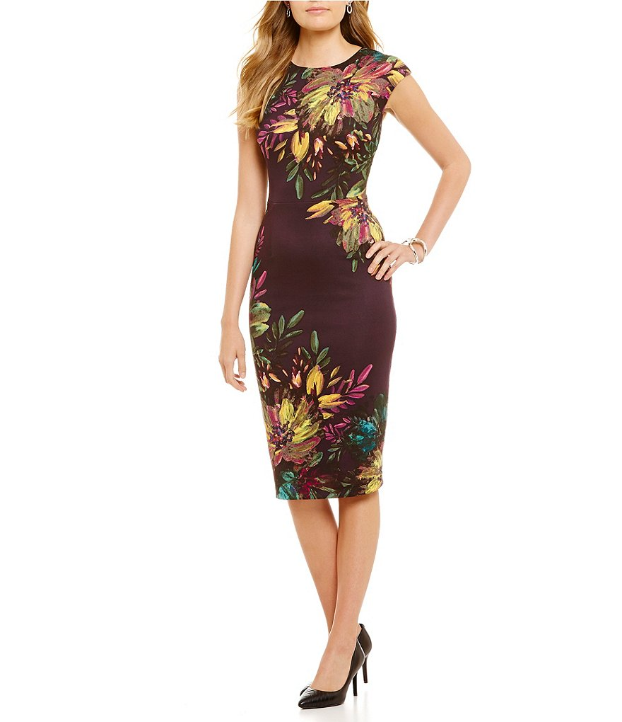 Maggy London Floral Crew Neck Cap Sleeve Midi Scuba Dress