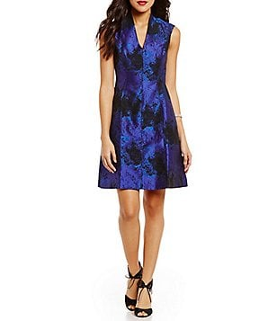 Maggy London V-Neck Fit-and-Flare Dress