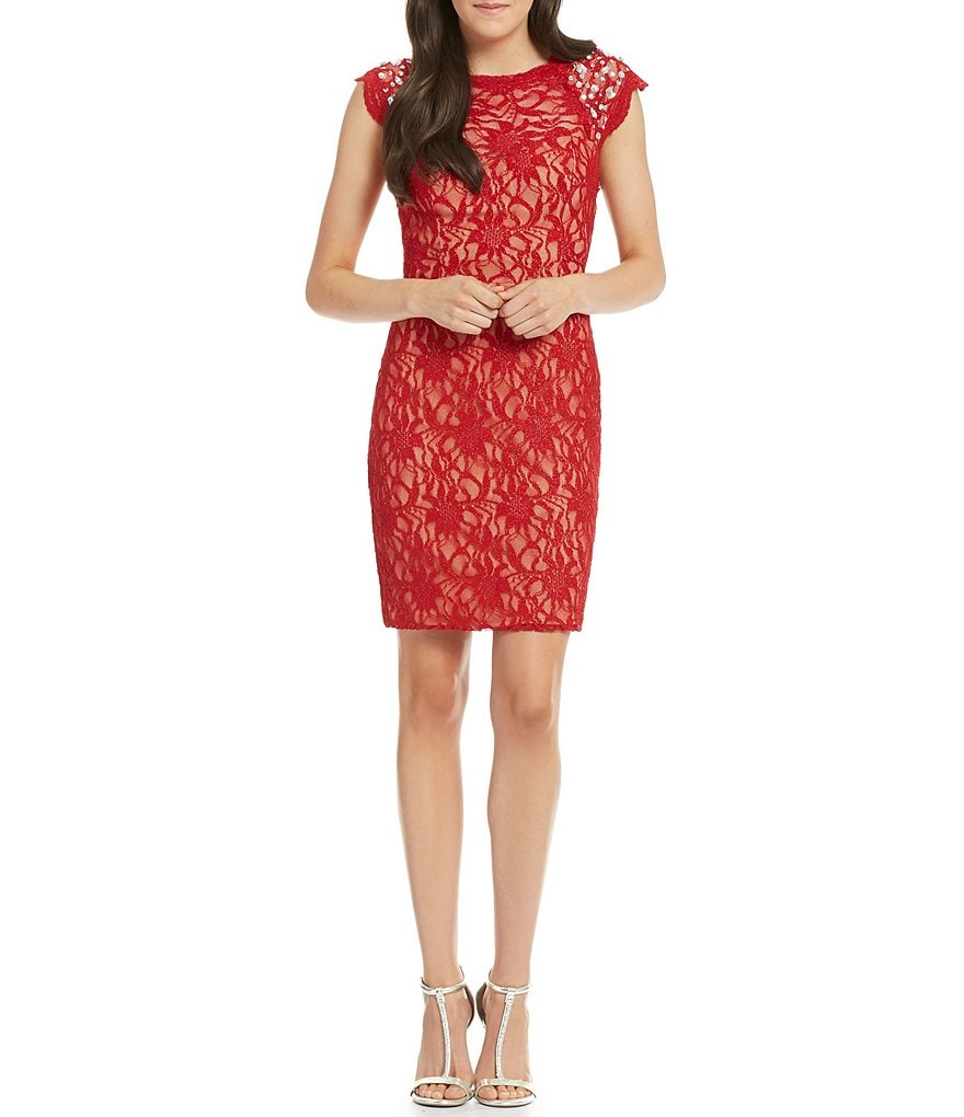 Jodi Kristopher Beaded Shoulders Glitter Lace Sheath Dress