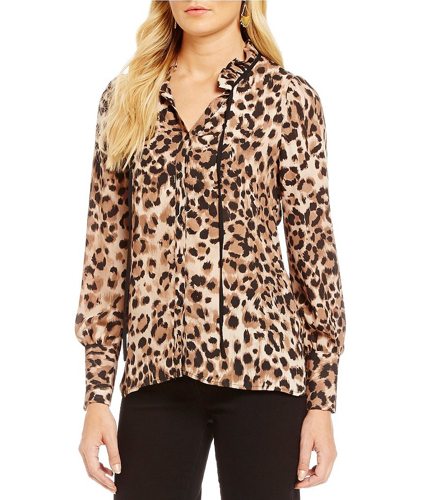 Spense Leopard Print Ruffle-Neck Button Front Blouse
