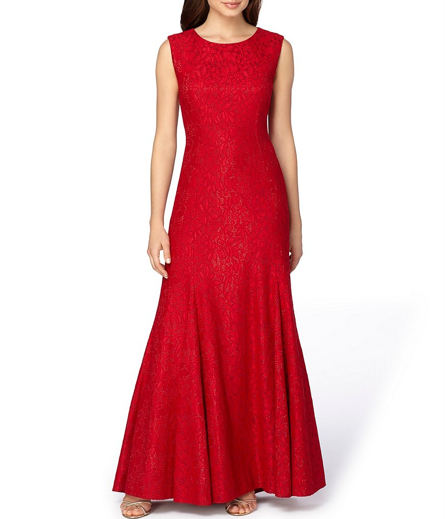 Tahari ASL Sparkle Lace Sleeveless Boat Neck Gown